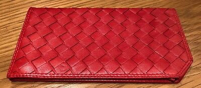 Red Soft Leather Glasses Case With Decorative Weave