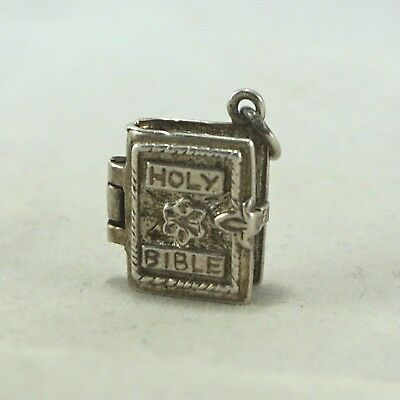 A+ Vintage Sterling Silver Holy Bible OPENS TO LORDS PRAYER VERSE Bracelet Charm