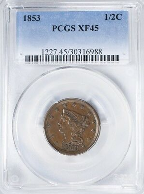 1853 Braided Hair Half Cent PCGS XF45 Pleasing Brown Color