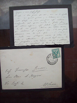 1903 Letter Autograph Philosopher,Geologist And Religious Of Lecco Pietro