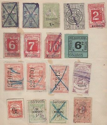 Gb Railway Stamps Small Used Collection 17 Different Old Album Page