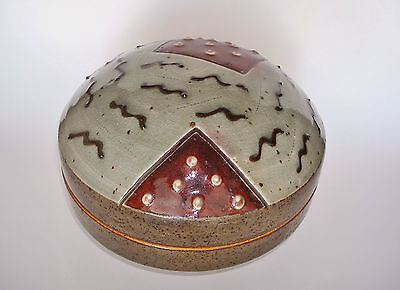 Very Early Signed JIM CONNELL Studio Art Pottery Lidded Covered Bowl Box Vessel