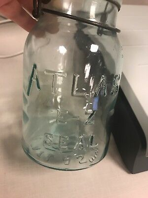 Vintage Aqua Blue Atlas E-Z Seal Canning Jar, Embossed Bottom, Glass Top