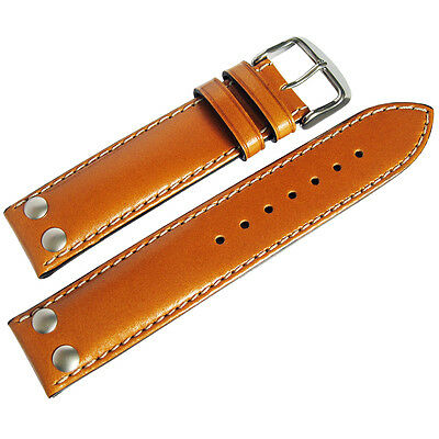 f418e0637 20mm Di-Modell Ikarus Mens Tan Leather Riveted Pilot German Watch Band Strap