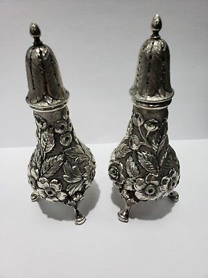 Sterling Silver Baltmore Beauty Hand Chased Salt/pepper Shakers