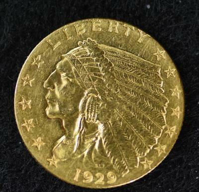 1929 Gold Indian Head 2 1/2 Dollar $2.5 Quarter Eagle Coin {75440}