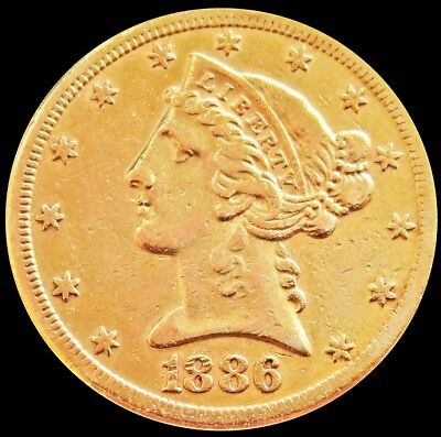 1886 S Gold Us $5 Dollar Liberty Head Half Eagle Coin San Francisco Mint*