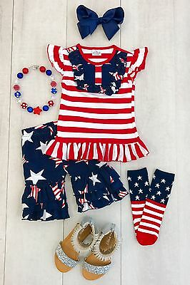 NEW! Girls Boutique top and Ruffled capris Size 8 Star 4th of July Independence