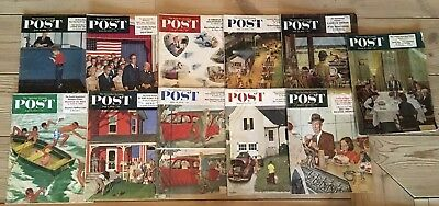 Vintage Lot Of 11 1950's The  Saturday Evening Post Magazine  Ex- Library ADS 1