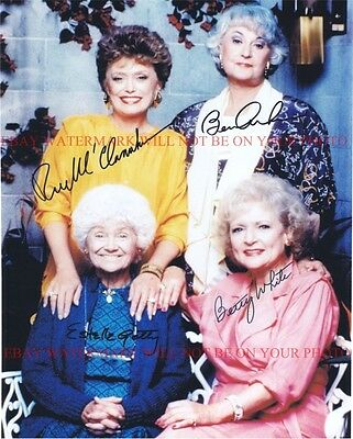 THE GOLDEN GIRLS SIGNED AUTOGRAPH 8x10 RP PHOTO BETTY WHITE BEA ARTHUR ALL FOUR