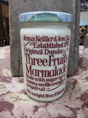Vtg Dundee Three Fruits Marmalade Jar & Lid Milk glass James Keiller & Son