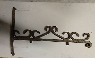 Excellent Hand Wrought Ornate Antique Iron Sign Bracket Great Surface Rust 19'