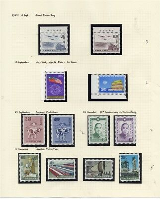 TAIWAN; 1964 early pictorial MINT MNH issues group on album page