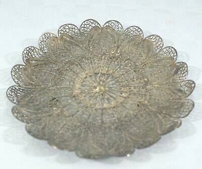 Antique Handmade Silver Filigree Footed Vanity, Candy, Nut Dish - 5 1/2 inches