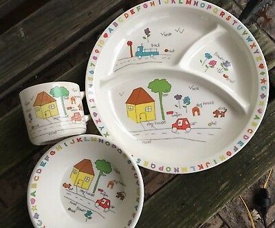 Vintage ANACAPA My House Dog MELAMINE Ware CHILD'S Baby Divided PLATE CUP BOWL