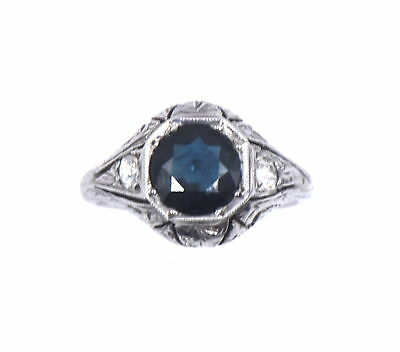 Antique Art Deco Sapphire Diamond Filigree Engagement Ring 18K White Gold Size 4