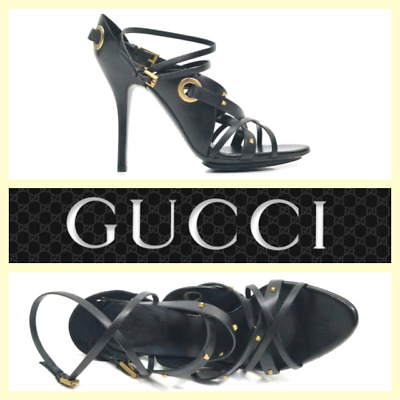 3443986a8 GUCCI STUDDED BLOCK Heel Ankle Strap Black Leather Sandal Pump 38 ...