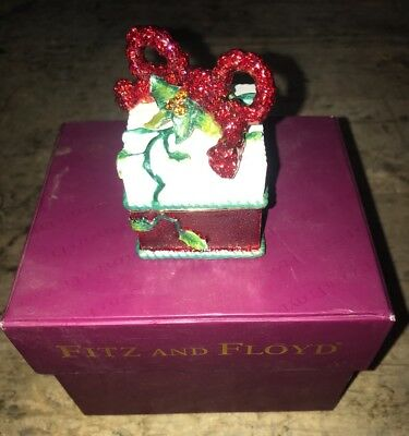 Fitz & Floyd Christmas Present Hinged Trinket Box Treasures Collection 2004
