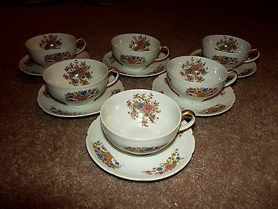 (6) Cups & Saucers sets, CHF1 floral Chas Field Haviland Limoges GDA France