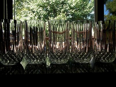 "Set (5) Ice Tea Tumblers Glasses 5-1/4"" Lead Crystal Longchamp Cristal D'Arques"