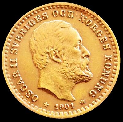 1901 Gold Sweden 5 Kronor Oscar Ii Coin Condition Mint State