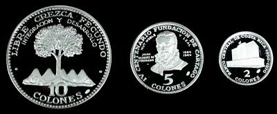 1970 Silver Costa Rica 2, 5, 10 Colones Gem Proof 3 Coin Set