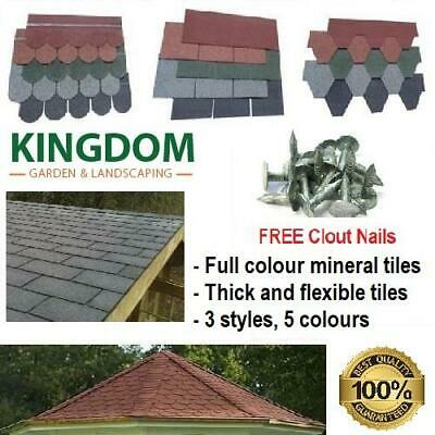 Roofing Felt Shingles Tiles Roof Asphalt Square Fishscale Hexagonal (4 Colours)