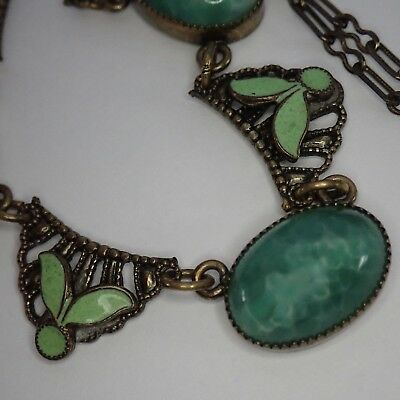 Antique Art Deco Neiger Bros Brass Green Enamel Czech Glass Collar Necklace