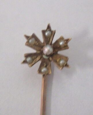 Vintage 10K Yellow Gold Seed Pearl Star Stick Pin