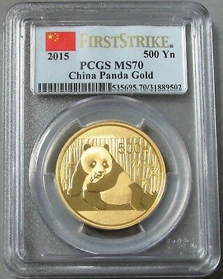 2015 GOLD CHINA 500 YUAN 1oz PANDA COIN PCGS MINT STATE 70 FS FLAG LABEL