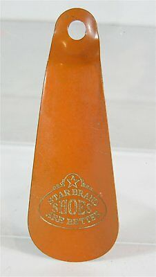 ca1905 TIN LITHOGRAPH ADVERTISING SHOEHORN - STAR BRAND SHOES SHOE HORN