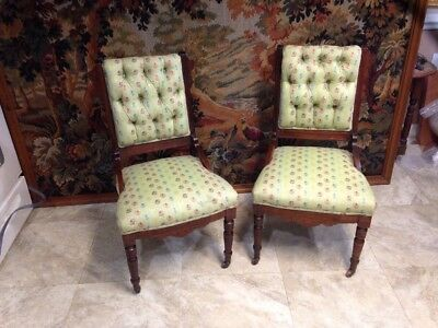 These Are 2 Very Nice Antique Victorian Eastlake Parlor Chairs  Original Walnut