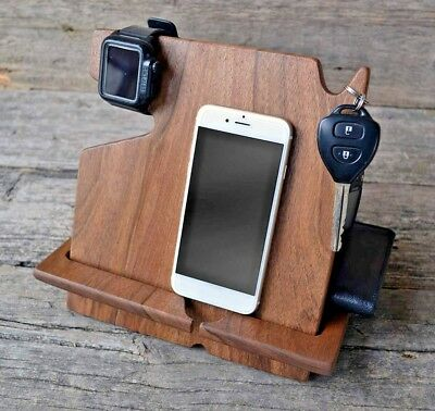 Wood Phone Docking Station Dark Walnut Key Holder Wallet Stand Watch Organizer
