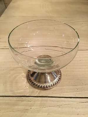 Vtg Duchin Creation Sterling Silver Weighted Glass Bowl Desert Flower Stem Dish