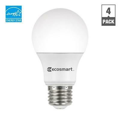 (4-Pack) EcoSmart 60-Watt Equivalent A19 Dimmable LED Light Bulb, Bright White