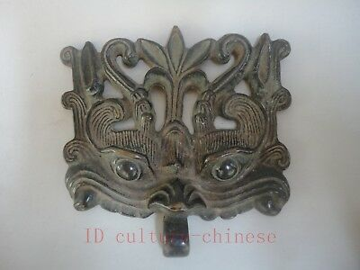 Collect Old China Fengshui Bronze Carving Lion Face like Beast Statue Decoration