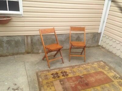 Lot of 2 Vintage Solid Wood Folding Chairs Snyder Chair Co 1930s-40s Made in USA