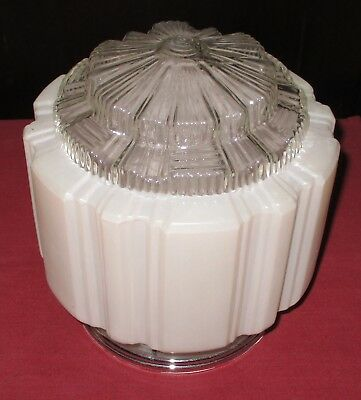 Art Deco Large Classic Glass Shade And Ceiling Fitting  Excellent Condition