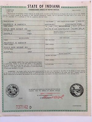 1955 Plymouth Historical Document ( Indiana )