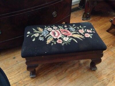 Vintage Floral Needlepoint Wooden Foot Stool