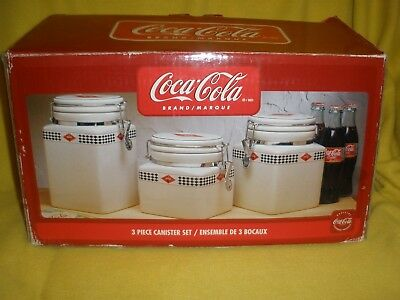Coca Cola 3 Pc Canister Set By Gibson With Box