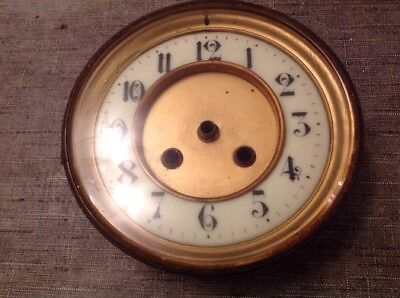 Antique Clock Brass Bezel Bevelled Glass Enamel Dial Solid 146mm Diameter