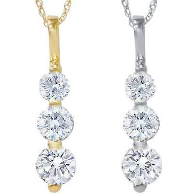 1.00 Ct 3 - Stone Natural Diamond Pendant Available In 14K White And Yellow Gold