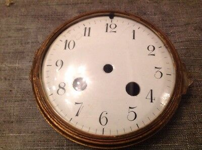 Antique Clock Brass Bezel Convex Glass Enamel Dial Solid Brass 115mm Diameter