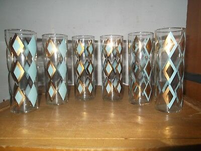"SET 6 Vintage ANCHOR HOCKING 6-3/4"" TALL GLASS TUMBLERS EX"