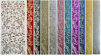 LEAF FLOURISH Peel Off Stickers Borders Demask Red Black Gold Silver Glitter