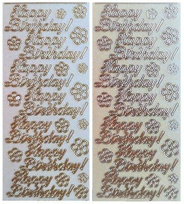 HAPPY BIRTHDAY Peel Off Stickers Glitter Gold or Silver Card Making Crafts