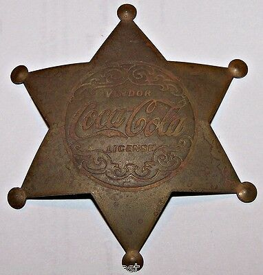 Coca Cola Coke Soda Vintage Original Messing Vendor Lizenzierte Sheriff Badge