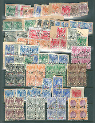 MALAYA BMA small accumulation of used, some on piece and some in blocks of four.