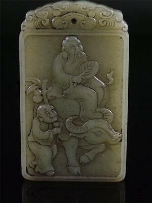Antique Old Chinese Nephrite Celadon Jade Pendant Netsuke Plaque OLD MAN & BOY